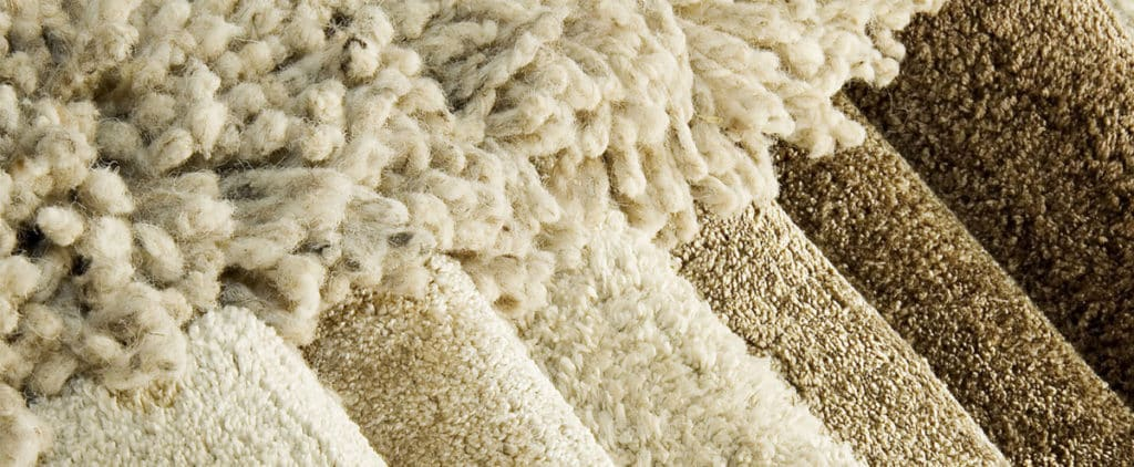 Image of 7 rugs made of different yarns. Shaggy, Acrylic, Polyester, Polypropylene, Viscose, Wool